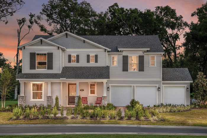The Washington plan (above) in Beazer Homes' Lakeshore of Wekiva community is a two-story, single-family home that features a convenient first-floor master bedroom and a three-car garage. The master bath (below) has dual vanities. At a spacious 4,057 to 4,069 square feet, the model is priced starting at $474,990.